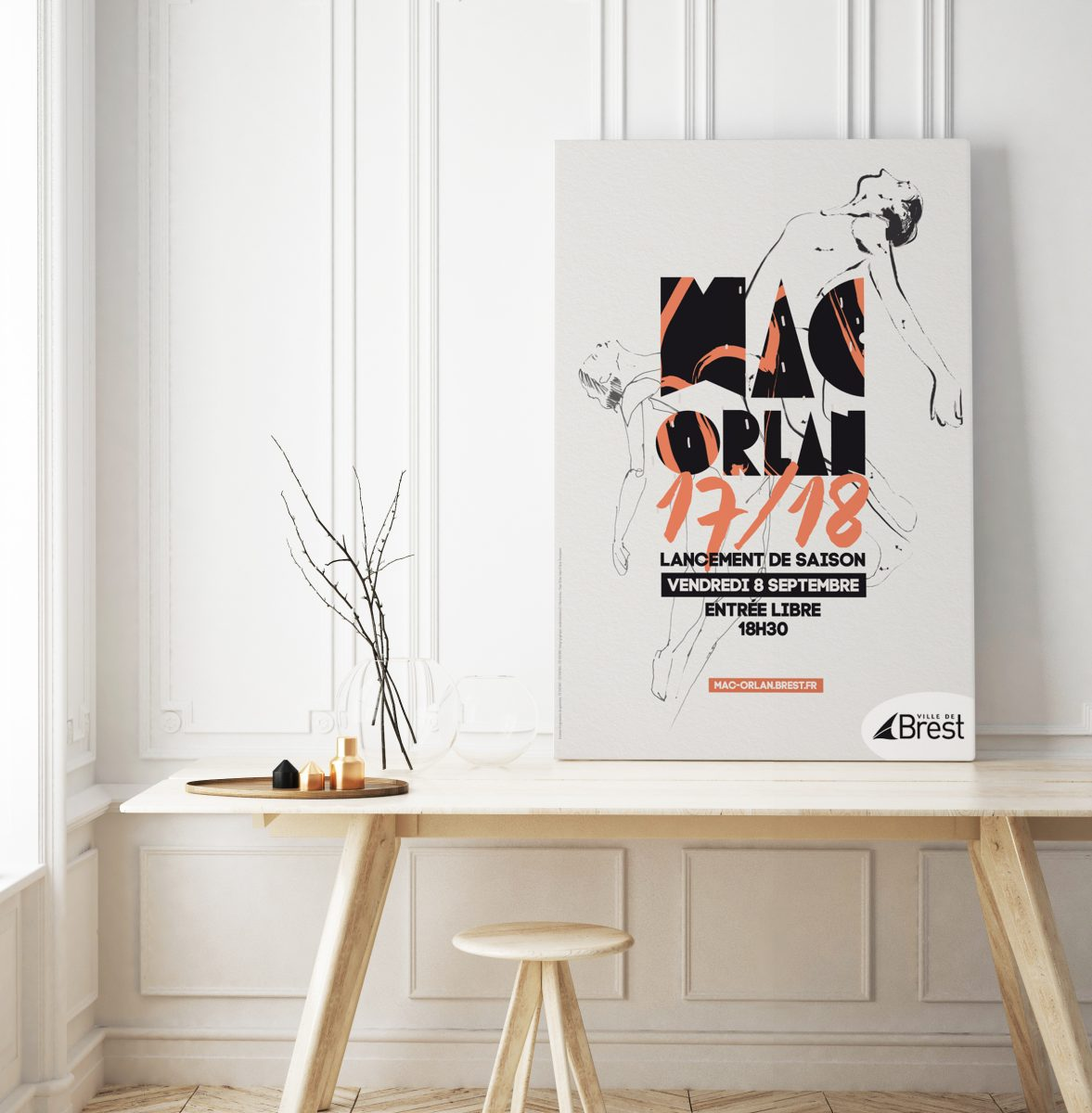 mock up poster frame in hipster room, scandinavian style interior