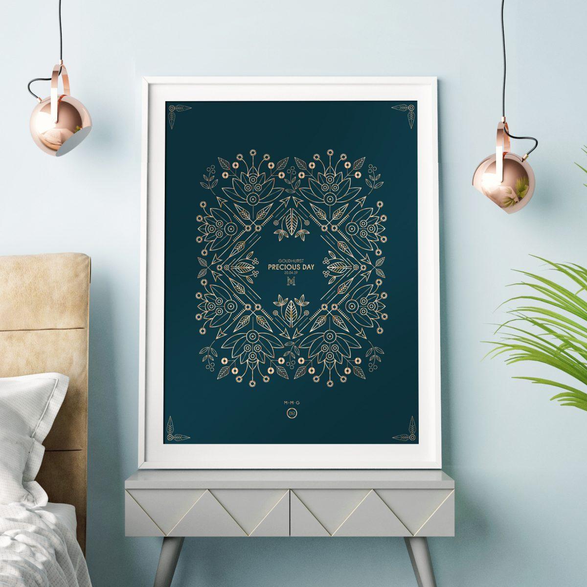 Mock up poster, hipster bedroom